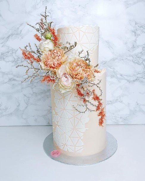 Orange Flowers On White 2 Tier Wedding Cake