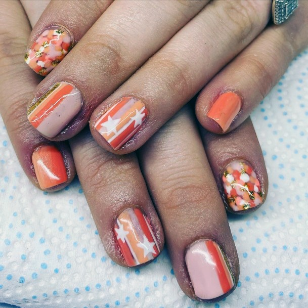 Orange Nude Stripes And Stars Nail Art