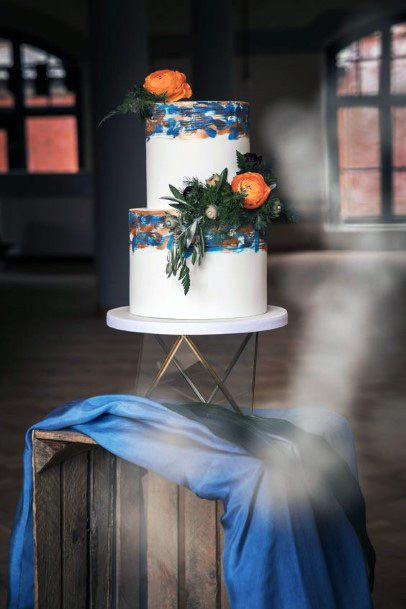 Orange On Blue Wedding Cake