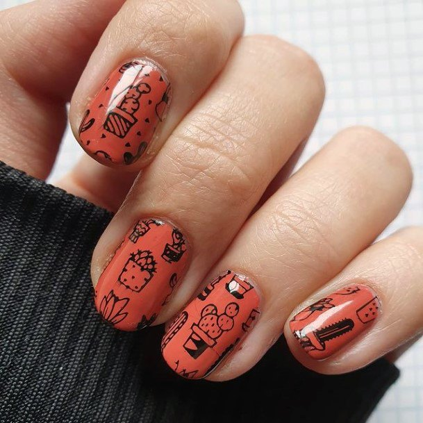 Orange Polish Cactus Nails Women