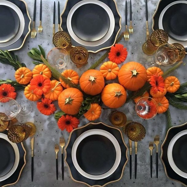 Orange Pumpkins And Orange Flowers Centerpiece Inspiration Fall Wedding Ideas
