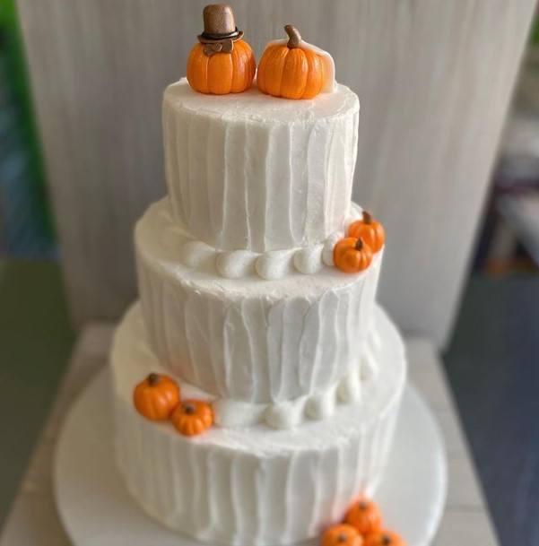 Orange Pumpkins White Halloween Wedding Cakes