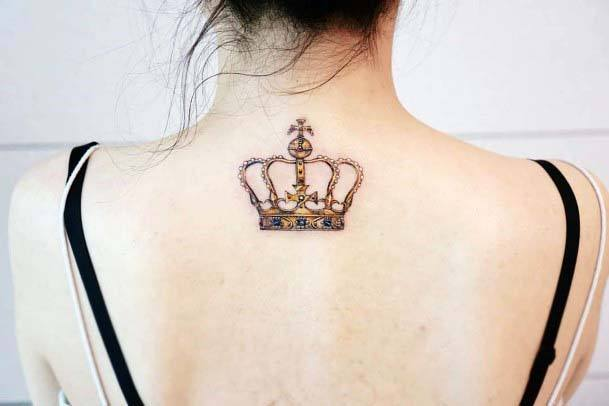 Orange Red Crown Tattoo Womens Back