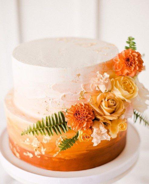 Orange Rose White Wedding Beautiful Cake
