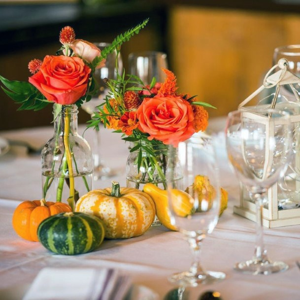 Orange Roses And Variety Small Pumpkins Centerpiece Decor Fall Wedding Ideas