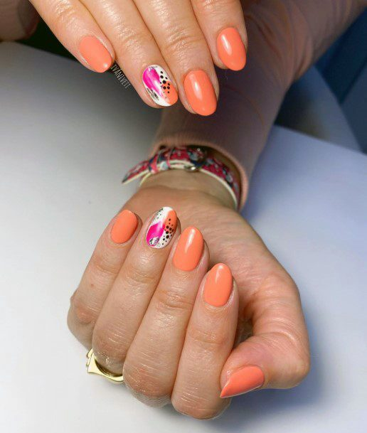 Orange Shellac Nails With Pink Design Accent For Women