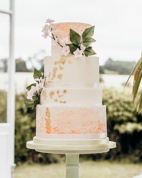 Orange Sparkles And Golden Leaved Beauitful Wedding Cake