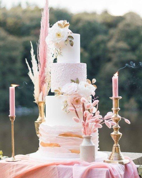 Orange Swirls White Beautiful Wedding Cakes