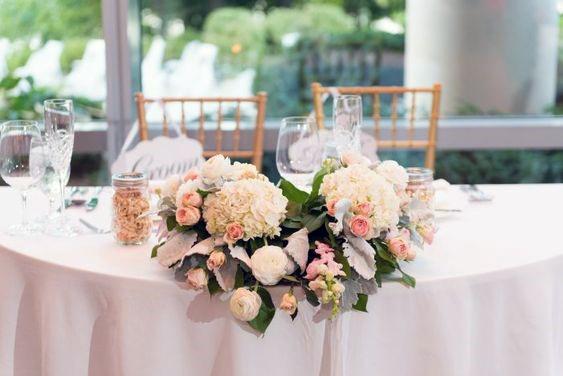 Orange Tinted Hydrangea Wedding Flowers
