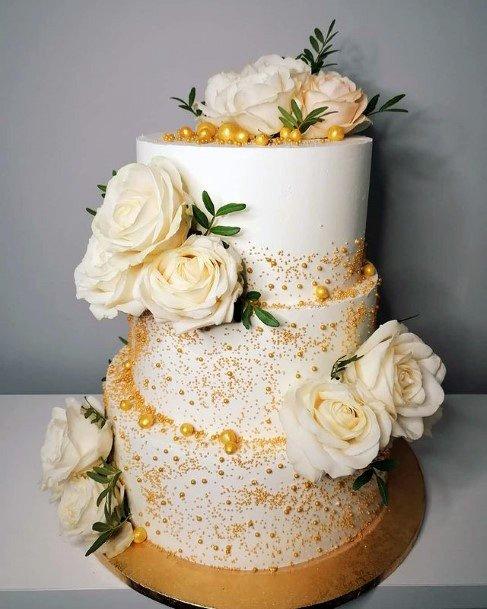 Orange Tinted Womens 3 Tier Wedding Cake