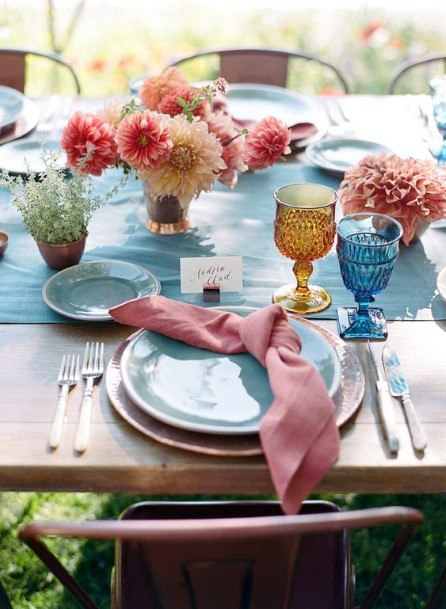Orange Tissue May Wedding Flowers