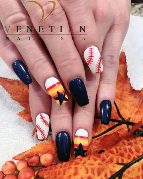 Orange White And Black Sport Nails For Women
