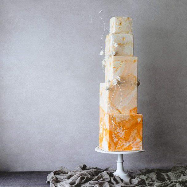 Orange Zest Square Wedding Cake
