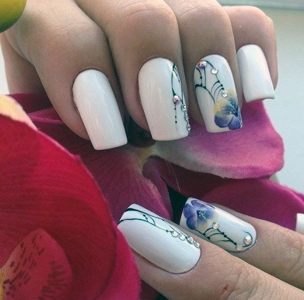 Orchid Nail Art With Crystals