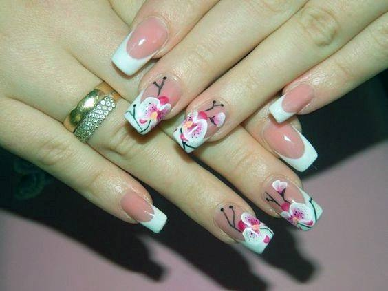 Orchids And French Tip Nails