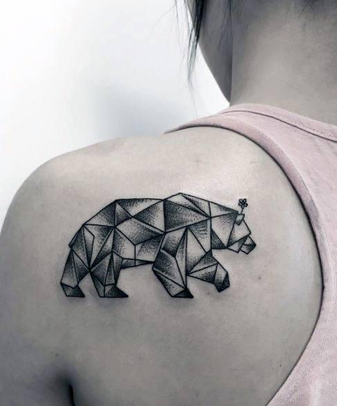 Origami Art Bear Tattoo Womens Back