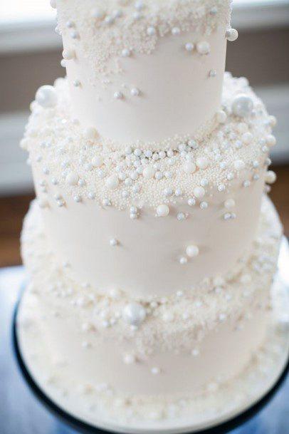 Ornamental Pearls Womens Elegant White Wedding Cake Art