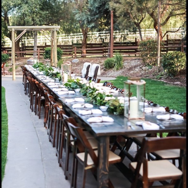 Outdoor Reception Long Natural Wood Table And Chairts Rustic Wedding Ideas