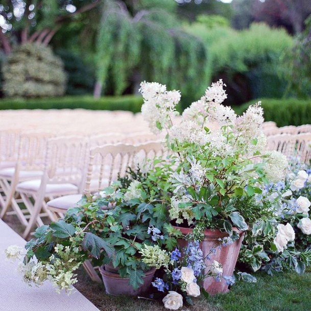 Outdoor Sitting Area Decor Hydrangea Wedding Flowers