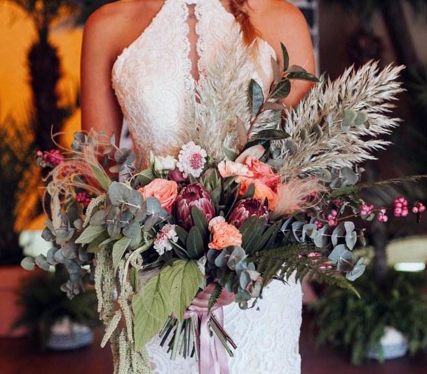 Overflowing Bunch Of Boho Wedding Flowers
