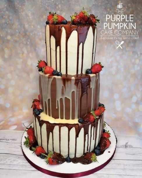 Overflowing Chocolate On Wedding Cake