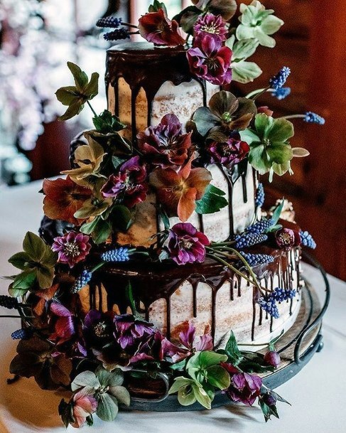 Overflowing Purple Flowers 3 Tier Wedding Cake Women