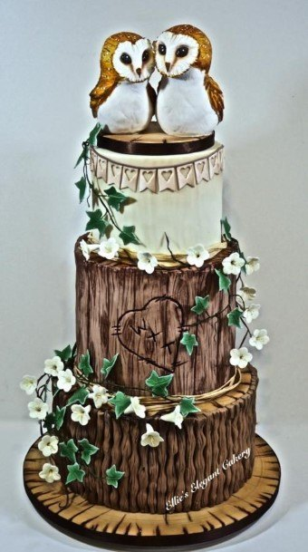 Owl Pairs On Rustic Wedding Cake Toppers