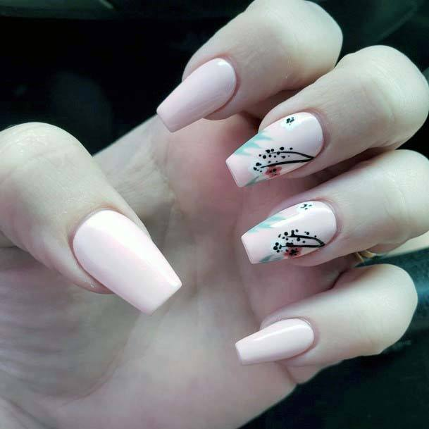 Painted Pollen On Light Pink Nails For Women