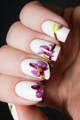 Painted Purple Orchids On White Nails