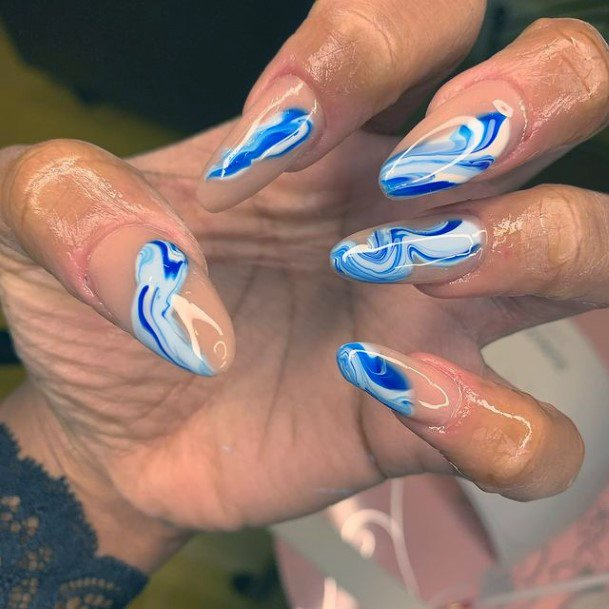 Painted Water Blue Nails Women