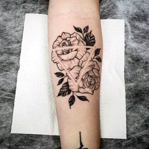 Pair Of Black Roses Geometric Tattoo Womens Hands