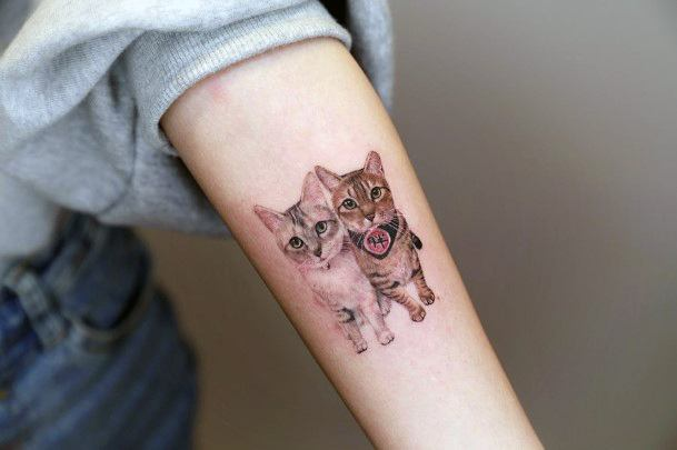 Pair Of Cats Tattoo For Women