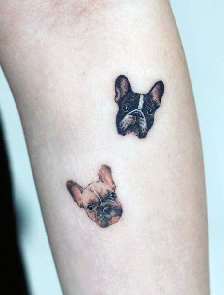 Pair Of Dogs Tattoo Womens Hands