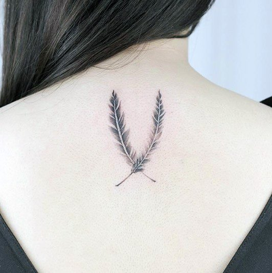 Pair Of Feathers Tattoo Womens Back