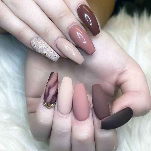 Pale Matte Nails With White Sugar Nails Women