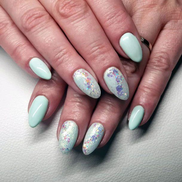 Pale Mint Nail With Glitters Women