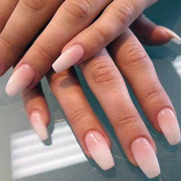 Pale White Ombre Nails Women