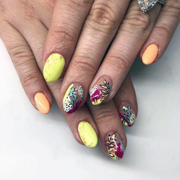 Pale Yellow Tropical Nails Women