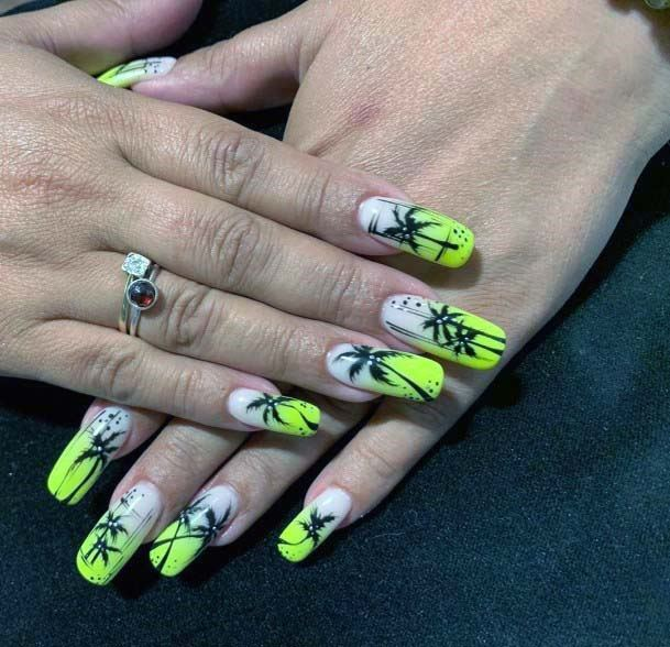 Palm Trees On Bright Yellow Nails For Women