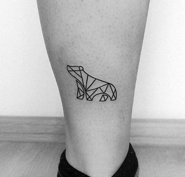 Paper Origami Bear Tattoo Womens Ankles