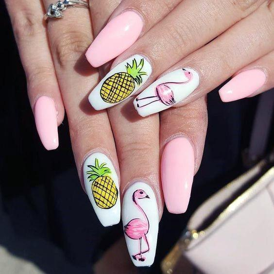 Pastel Flamingo And Pineapple Nails Women