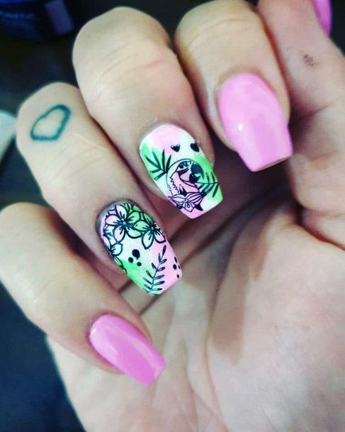 Pastel Pink Tropical Nails Women