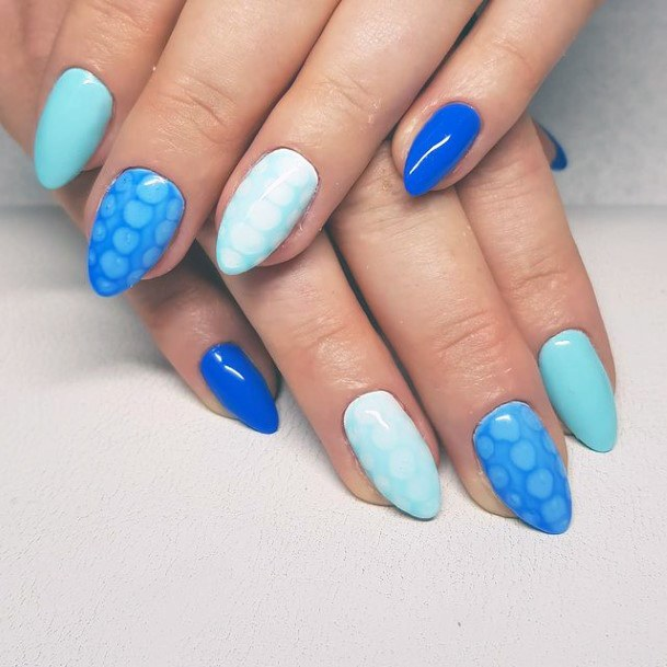 Patterned Blue Water Nails Women
