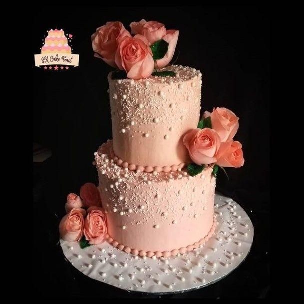 Peach 2 Tier Wedding Cake
