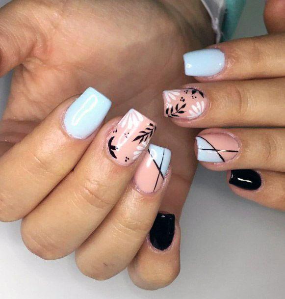 Peach And Blue Tropical Nails Women