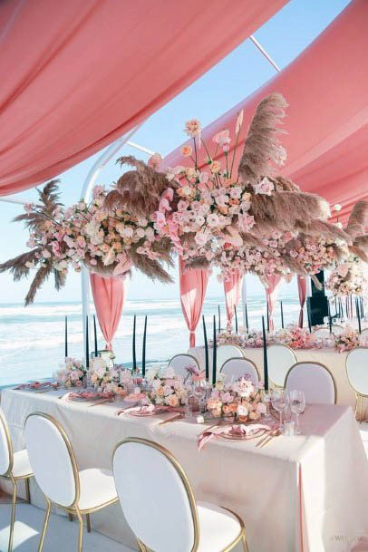 Peach And Pink Flowers Wedding