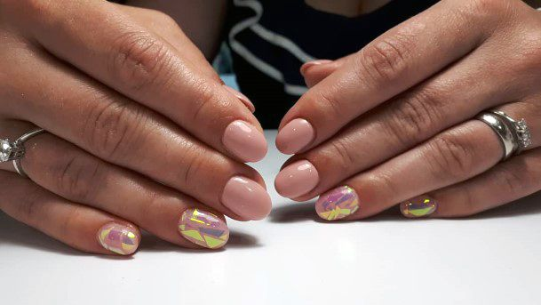 Peach Glass Nails For Women