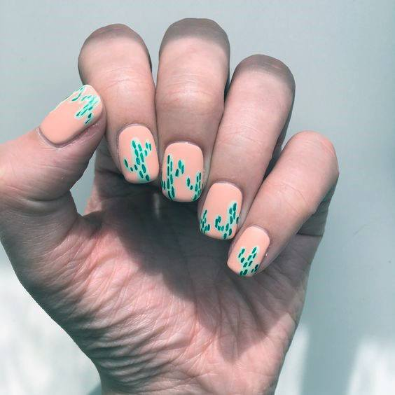 Peach Nails With Green Cactus Women