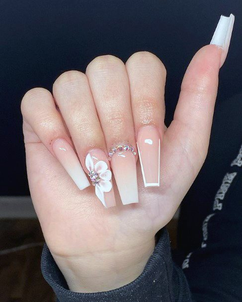 Peach Ombre Nails 3d Flower Nails