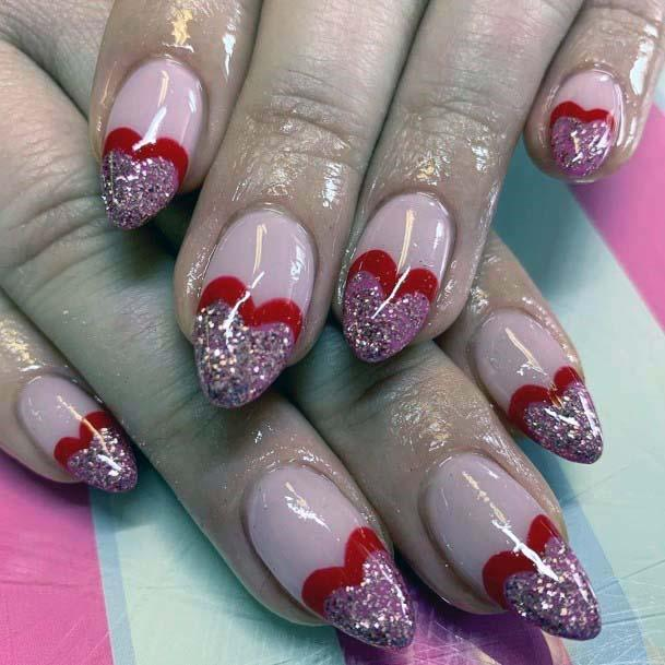 Peach Pink Nails With Red Sparkly Heart For Women